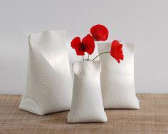 porcelain mini vase. white ceramic bud vase. Artful Dodger by wapa.