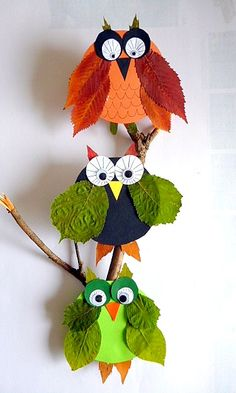 Owls from beer mats and pressed leaves - Animals Crafts - My grandson and I - Made with schwedesign.de