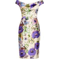 Lela Rose Floral-print satin dress (€505) ❤ liked on Polyvore featuring dresses, vestidos, floral, short dresses, purple, purple cocktail dresses, purple floral dress, short floral dresses, floral print dress and satin cocktail dress