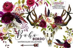 Boho Bordo Watercolor Flowers by whiteheartdesign on @creativemarket