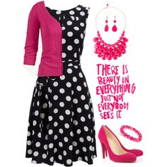 Love this combination, actually wore something very similar to church this week. handmade black polka dot dress, pink ruffle cardigan, pink flats and pink earri. Mode Outfits, Casual Outfits, Fashion Outfits, Womens Fashion, Fashion Trends, Classy Outfits, Pretty Outfits, Country Outfits, Country Girls