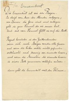 Rilkes Gedicht Einsamkeit Handschriftlich Vor