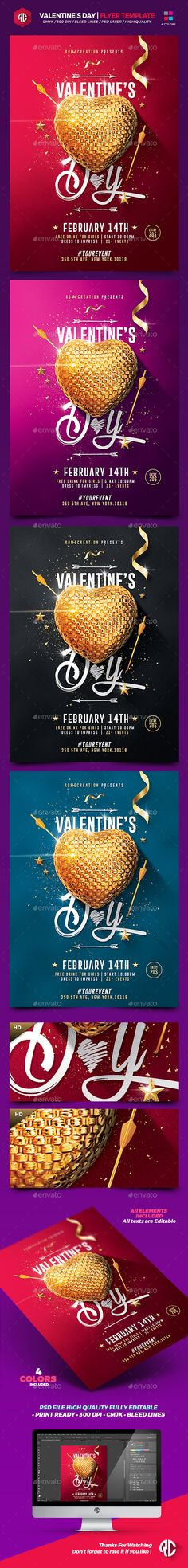 Valentine's Day Flyer Template PSD #design Download: http://graphicriver.net/item/valentines-day-flyer-template/14366135?ref=ksioks