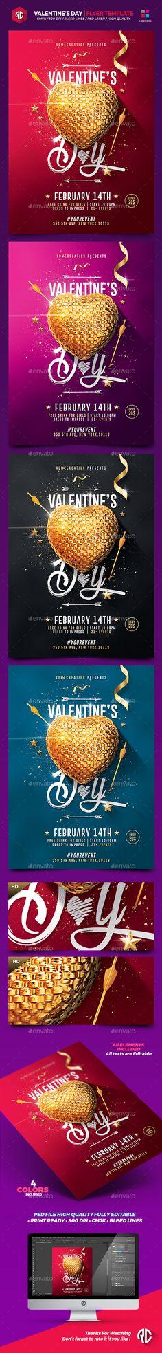 Valentine's Day Flyer Template PSD #design Download: http://graphicriver.net/item/valentines-day-flyer-template/14366135?ref=ksioks