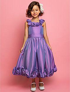 A-line Princess Scoop Tea-length Taffeta Flower girl dress(5... – USD $ 99.99