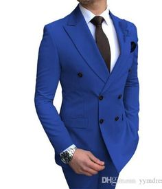 2020 New Groom Outfit Beige Men's Suit 2 Pieces Double-breasted Notch Lapel Flat Slim Fit Casual Tuxedos For Wedding(Blazer+Pants) Grey Tuxedo, Tuxedo Jacket, Tuxedo Wedding, Wedding Suits, Wedding Tuxedos, Men's Two Piece Suits, Wedding Blazers, Costume Blanc, Blue Suit Men
