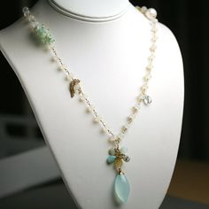 Blue Peruvian Opal Flower Necklace with Chalcedony by fussjewelry