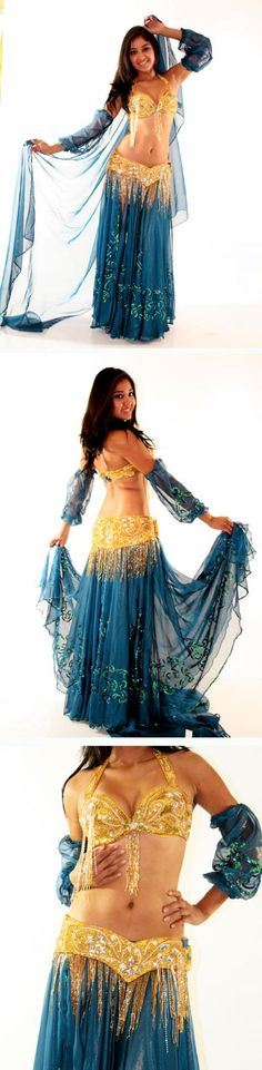 Can someone buy me a belly dancing outfit like this? Because all mine are either black, red, white, silver, or teal. I love this. And the scarf is adorable! <3