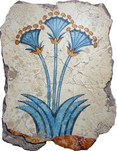 """Mini Papyrus Plants: Found in the West section of the House of Ladies, frescos of massive, three stemmed, blossoming plants are painted on the walls. The lower zone is painted in a reddish-yellow color with an undulating curve, presumably an attempt at rendering uneven ground. Panel Sizes: 16"""" x 24"""" 