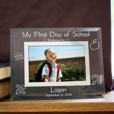Personalized Engraved First Day of School Glass Picture Frame