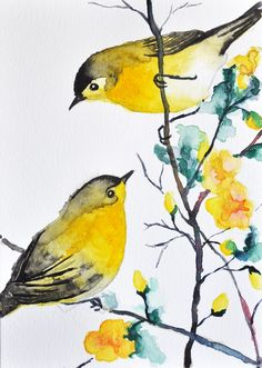 ORIGINAL Watercolor bird painting - 2 Warblers / Romantic birds / Cute birds 6x8 inch