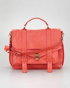 Proenza Schouler PS1 Large Satchel Bag, Deep Coral - Neiman Marcus