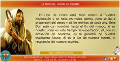 MISIONEROS DE LA PALABRA DIVINA: REFLEXIÓN - EL DON DEL PADRE EN CRISTO