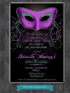 Purple and Green Masquerade Ball/Mardi Gras Party Invitation