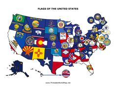 This Printable Map Of The United States Is Divided Into Colorful - Us map with state flags