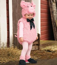 squiggly piggy costume    This little piggy went to market, this little piggy went trick or treating! (Way more fun, don't you agree?) This playful bodysuit's covered with curly embellishments, has a tail and satin bow. Fleece-lined separate hood has ears and snout. Comes with little black hooves, too. 4-pc. set. Polyester. Imported.  #26062  $39.00