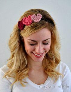 Make a Crochet Heart Headband for Valentine's Day
