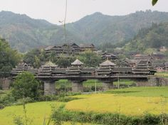 Chengyang is one of the most famous wind and rain bridges. Built by the Dong people of southwest China in 1916, this wooden and stone bridge consists of two platforms, five pavilions and a long corridor. It crosses the Linxi River at 64 meters long and 3.4 meters wide.