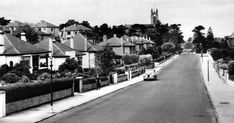 Old photograph of cottages, church and car in Clarkston in East Renfrewshire, Scotland . When a new road from Paisley to East Kilbride was . Old Photographs, Old Photos, Glasgow Scotland, Cottages, Poem, Paisley, University, Street View, Tours