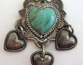 Vintage GREEN TURQUOISE HEART Sterling Dangle Navajo Pendant Southwest 925 Silver