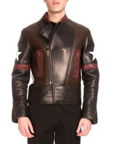 N3WXQ Givenchy Star Colorblock Leather Biker Jacket