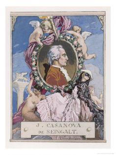 Portrait of Casanova. Watercolor by Auguste Leroux (1871-1954)  from the 1932 French edition of Casanova's Histoire de ma Vie