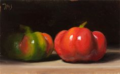 painting of Two Peppers. 10-28-09