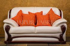 Orange Handmade Mirror Work 5 cushion cover Set