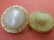 14 KNÖPFE cremeweiss gold 15mm (6556-2)Knopf weiss