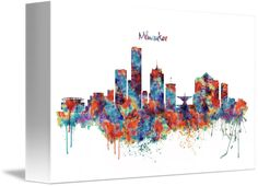 """Milwaukee+watercolor+skyline""+by+Marian+Voicu,+Bucharest+//+Watercolor+art+is+an+awesome+idea+for+a+wall+decor.+My+art+is+suitable+for+home+or+office+decor+and+the+perfect+solution+for+a+last+minute+gift.+//+Imagekind.com+--+Buy+stunning+fine+art+prints,+framed+prints+and+canvas+prints+directly+from+independent+working+artists+and+photographers."