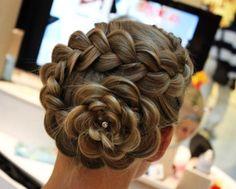 Wedding hair braided into a flower