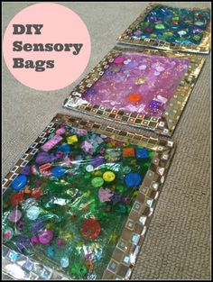 DIY Sensory Bags for babies and children! Help motivate your baby to love tummy time.
