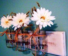 Sconces-Planters-Vases-Mason Jar Caddy-(3) Pint Size Jars-Ready To Hang