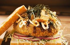 Burger Week Bonus: Tonkatsu Okonomiyaki Burger - Pepper.ph Entree Recipes, Burger Recipes, Asian Recipes, Vegetarian Recipes, Cooking Recipes, Tonkatsu Sauce, Tapas, Fusion Food, How To Eat Better