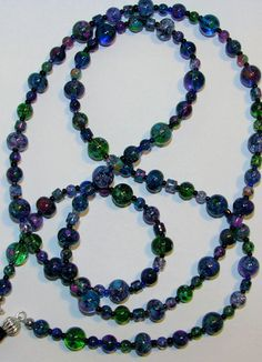 Blue Purple Pink Green Beaded Eyeglass Chain Office Id by nonie615, $11.00