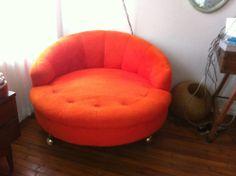 Vintage Round Sofa Mid Century Eames Modern Lounge Chair Milo Baughman Era