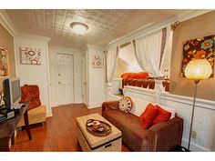Inside of train caboose guest house