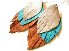 Leather Feather Earrings in silver turqouise by HotPinkandSequins