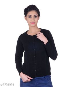 Checkout this latest Sweaters Product Name: *Ogarti woollen full sleeve round neck Black Women's  Cardigan* Fabric: Acrylic Pattern: Solid Multipack: 1 Sizes:  M (Bust Size: 17 in, Length Size: 22 in, Waist Size: 16 in, Hip Size: 17 in, Shoulder Size: 13 in)  Easy Returns Available In Case Of Any Issue   Catalog Rating: ★4 (212)  Catalog Name: Pretty Sensational Women Sweaters CatalogID_1504137 C79-SC1026 Code: 944-8793959-9911
