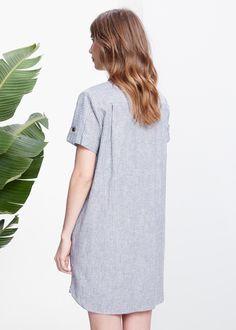 Striped linen-blend dress