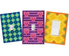 Make fun switch plate covers for your room out of Perler Beads! Choose from these three designs, or use the patterns and choose your favorite colors to match your room.
