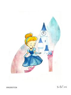 Cinderella and the Glass Slipper Watercolor by BenByrdArtwork