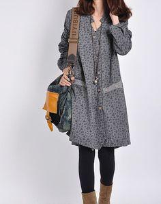 Gray cotton dress/ long sleeve dress /casual by originalstyleshop, $59.00