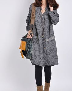 Gray cotton dress/ long sleeve dress /casual di originalstyleshop, $59.00