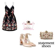 """i Fiori"" by lekeks ❤ liked on Polyvore featuring Jimmy Choo, The 2nd Skin Co., Alexander McQueen and Salvatore Ferragamo"