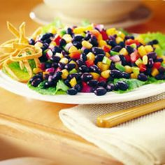 Bush's Best Black Bean Salad. I only use half the oil and vinegar or it seems too oily to me.