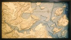 This 3 dimensional map was laser cut and stacked in layers to display the natural beauty of the Portland, Maine area.