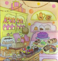 My Colorful Town by Chiaki Ida Interior of sweet shop left page Completed adult coloring page done by colorist: Jax