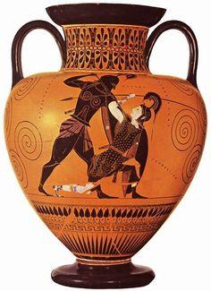 """Título da obra: """"Aquiles Mata Pentesileia"""". Representação de um episódio narrado em Ilíada de Homero. Datado de cerca de 540 a.C e tendo atribuído Exékias como autor da obra. Atualmente se encontra no  Museu Britânico em Londres."""