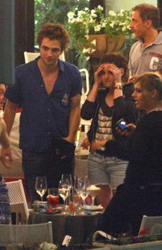 Robsten Dreams: Robsten Pic of the Day ~ Enjoying the good food and good company in Italy. --Dinner in Montepulciano, Italy while filming New Moon, May 2009
